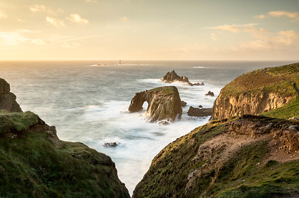 Lands End Sea Arch and Longships Lighthouse